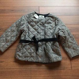 Zara girls quilted plaid jacket-NWT